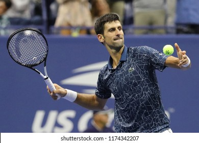 NEW YORK - SEPTEMBER 7, 2018: 13-time Grand Slam champion Novak Djokovic of Serbia celebrates victory after his 2018 US Open semi-final match at Billie Jean King National Tennis Center