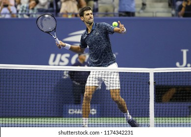 NEW YORK - SEPTEMBER 7, 2018: 13-time Grand Slam champion Novak Djokovic of Serbia celebrates victory after his 2018 US Open semi-final match at Billie Jean King National Tennis Center