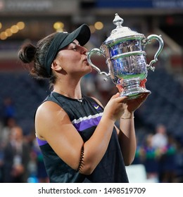 NEW YORK - SEPTEMBER 7, 2019: 2019 US Open champion  Bianca Andreescu of Canada during trophy presentation after her victory over Serena Williams at Billie Jean King National Tennis Center in New York