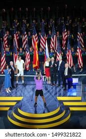 NEW YORK - SEPTEMBER 7, 2019: 2019 US Open champion Rafael Nadal of Spain during trophy presentation after her victory over Daniil Medvedev at Billie Jean King National Tennis Center in New York