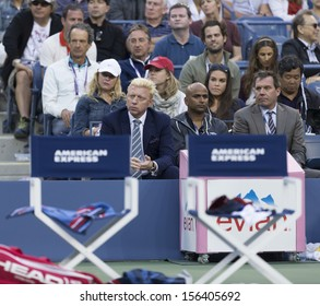 NEW YORK - SEPTEMBER 7: Boris Becker attends US Open semifinal match between Rafael Nadal of Spain & Richard Gasquet of France at USTA National Tennis Center on September 7, 2013 in New York