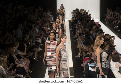 NEW YORK - SEPTEMBER 7: Models walk  the runway at the Herve Leger By Max Azria Ready to Wear fashion show during Mercedes-Benz Fashion Week Spring Summer 2014 on SEPTEMBER 7, 2013 in New York
