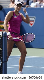 NEW YORK - SEPTEMBER 7 : Nadia Petrova of Russia gestures during 4th round match against Melanie Oudin of USA at US Open on September 7, 2009 in New York.