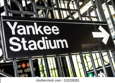 NEW YORK - SEPTEMBER 7: sign for Yankee Stadium on September 7, 2013 in New York. Yankee Stadium is a baseball venue located in the South Bronx in New York City.