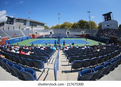 NEW YORK - SEPTEMBER 7: US Open 2014 girls junior final  match between Marie Bouzkova from Czech Republic  and Anhelina Kalinina from Ukraine at Court 17 on September 7, 2014 in New York