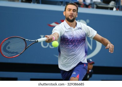 NEW YORK - SEPTEMBER 8, 2015: Grand Slam champion Marin Cilic of Croatia in action during his quarterfinal match at US Open 2015 at National Tennis Center in New York