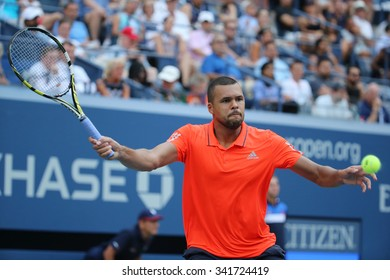 NEW YORK - SEPTEMBER 8, 2015: Professional tennis player Jo-Wilfried Tsonga of France in action during his quarterfinal match at US Open 2015 at National Tennis Center in New York