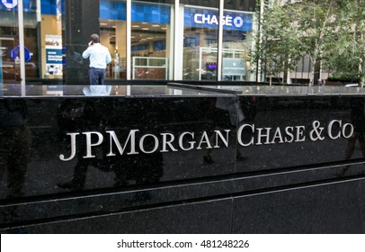 New York, September 8, 2016: The corporate sign in front of the JP Morgan Chase office building on Park Avenue.
