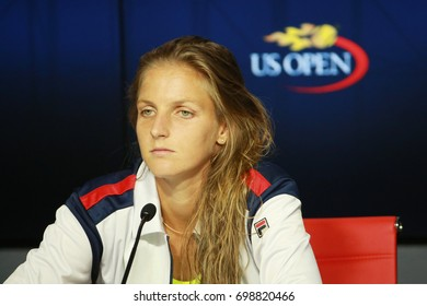 NEW YORK - SEPTEMBER 8, 2016:Professional tennis player Karolina Pliskova of Czech Republic during press conference after her semifinal match at US Open 2016 at Billie Jean King National Tennis Center