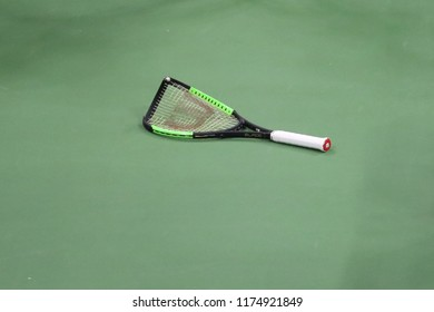NEW YORK - SEPTEMBER 8, 2018: 23-time Grand Slam champion Serena Williams broke tennis racket during her 2018 US Open final match at Billie Jean King National Tennis Center