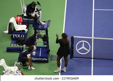 NEW YORK - SEPTEMBER 8, 2018: 23-time Grand Slam champion Serena Williams argues with chair umpire Carlos Ramos during her 2018 US Open final match at Billie Jean King National Tennis Center