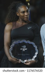 NEW YORK - SEPTEMBER 8, 2018: 2018 US Open finalist Serena Williams of United States holds  US Open finalist trophy during trophy presentation after her final match loss against Naomi Osaka