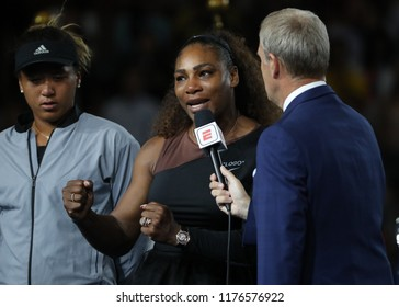 NEW YORK - SEPTEMBER 8, 2018: 2018 US Open finalist Serena Williams of United States in tears during trophy presentation after her final match loss against Naomi Osaka