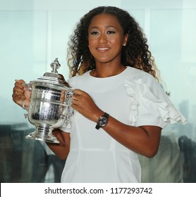 NEW YORK - SEPTEMBER 8, 2018: 2018 US Open champion Naomi Osaka of Japan poses with US Open trophy in New York