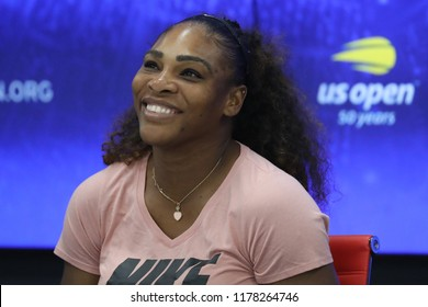 NEW YORK - SEPTEMBER 8, 2018: 23-time Grand Slam champion Serena Williams of United States during press conference after her loss at 2018 US Open final match against Naomi Osaka