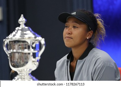 NEW YORK - SEPTEMBER 8, 2018: 2018 US Open champion Naomi Osaka of Japan during press conference after her win at 2018 US Open women's final match against Serena Williams