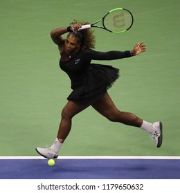 NEW YORK - SEPTEMBER 8, 2018: 23-time Grand Slam champion Serena Williams in action during her 2018 US Open final match against Naomi Osaka at Billie Jean King National Tennis Center