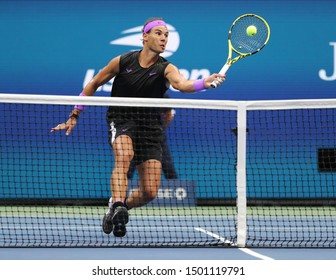 NEW YORK - SEPTEMBER 8, 2019: US Open 2019 champion Rafael Nadal of Spain in action during his final match against Daniil Medvedev of Russia at Billie Jean King National Tennis Center in New York
