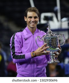 NEW YORK - SEPTEMBER 8, 2019: 2019 US Open champion Rafael Nadal of Spain during trophy presentation after his victory over Daniil Medvedev at Billie Jean King National Tennis Center in New York