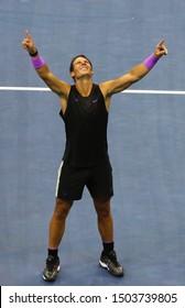 NEW YORK - SEPTEMBER 8, 2019: 2019 US Open champion Rafael Nadal of Spain celebrates victory over Daniil Medvedev in his final match at Billie Jean King National Tennis Center in New York