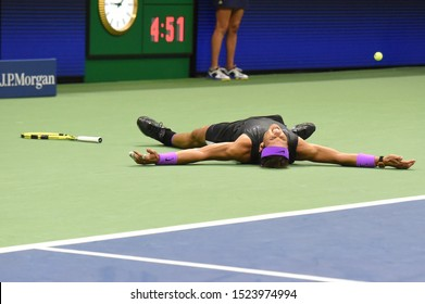 NEW YORK - SEPTEMBER 8, 2019: 2019 US Open champion Rafael Nadal of Spain celebrates victory over Daniil Medvedev in his final match at Billie Jean King National Tennis Center in New York