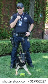 NEW YORK - SEPTEMBER 9, 2015: NYPD transit bureau K-9 police officer and German Shepherd K-9 providing security at National Tennis Center during US Open 2015 in New York