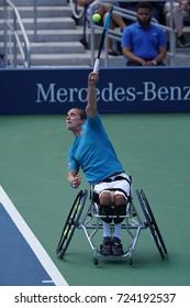 NEW YORK - SEPTEMBER 9, 2017: British professional wheelchair tennis player Gordon Reid in action during US Open 2017 Wheelchair Men's Singles semifinal at Billie Jean King National Tennis Center