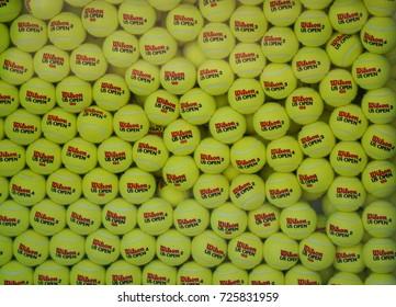 NEW YORK - SEPTEMBER 9, 2017: US Open Wilson tennis balls at Billie Jean King National Tennis Center in New York. Wilson is the Official Ball of the US Open since 1979