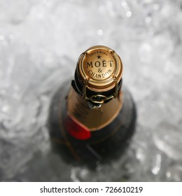 NEW YORK - SEPTEMBER 9, 2017: Moet and Chandon champagne presented at the National Tennis Center during US Open 2017 in New York. Moet and Chandon is the official champagne of the US Open