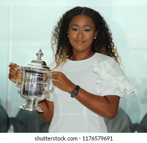 NEW YORK - SEPTEMBER 9, 2018: 2018 US Open champion Naomi Osaka of Japan poses with US Open trophy in New York
