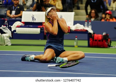 NEW YORK - SEPTEMBER 9, 2018: 2018 US Open women's doubles champion CoCo Vandeweghe of United States celebrates victory after her final match at Billie Jean King National Tennis Center