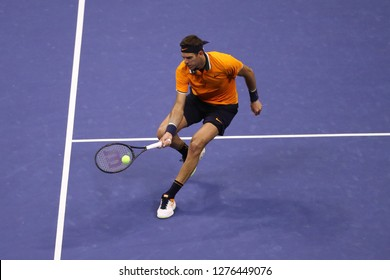 NEW YORK - SEPTEMBER 9, 2018: 2018 US Open finalist Juan Martin del Potro of Argentina in action during his final match against Novak Djokovic at USTA National Tennis Center