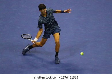 NEW YORK - SEPTEMBER 9, 2018: 2018 US Open Champion Novak Djokovic of Serbia in action during his final match against Juan Martin del Potro at USTA National Tennis Center