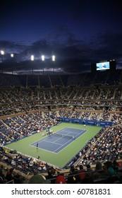 NEW YORK - SEPTEMBER 9: A crowded Arthur Ashe Stadium for a night U.S. Open tennis match on September 9, 2010 in New York. In this quarterfinal match, Mikhail Youzhny defeats Stanislas Wawrinka.