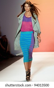 NEW YORK - SEPTEMBER 9: A model is walking the runway at the Nicole Miller Collection presentation for Spring/Summer 2012 during Mercedes-Benz Fashion Week on September 9, 2011 in New York.