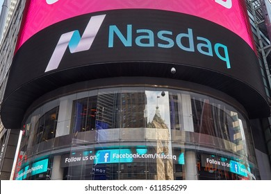 NEW YORK - SEPTEMBER 9: Nasdaq Marketsite in 4 Times Square on September 9, 2016 in New York. This is the marketing presence of the Nasdaq stock market.
