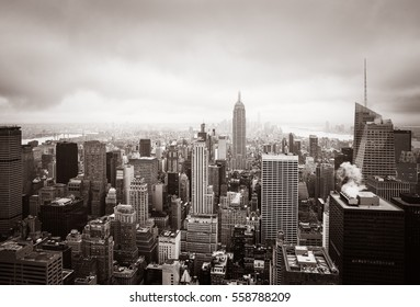 New York skyline. Aerial view over Manhattan on an overcast day. Sepia toned image. Old photo stylization.