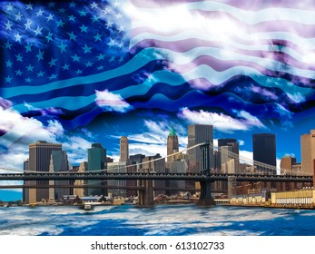 New York skyline  with American Flag in the sky, USA.