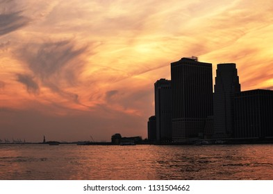 The New York skyline at beautiful sunset