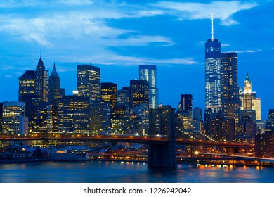 New York Skyline With Brooklyn Bridge at Night