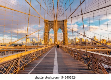 New York skyline in the Brooklyn Bridge