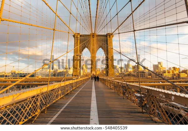 New York skyline in the Brooklyn Bridge