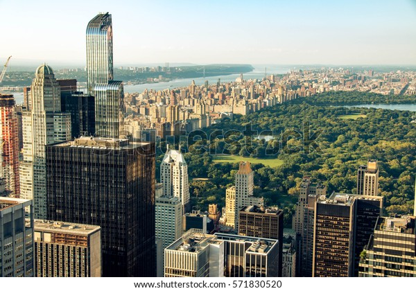 New York skyline and Central Park seen from Top of the Rock, New York