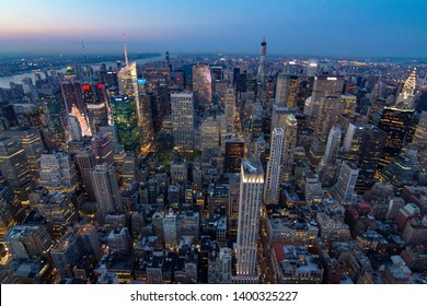 New york skyline during sunset from empire state building