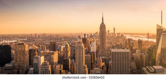 New York skyline panorama at sunset