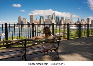 New york skyline seen from Brooklyn heights promenade