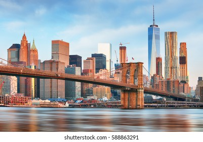 New York skyline at sunrise, nobody, USA