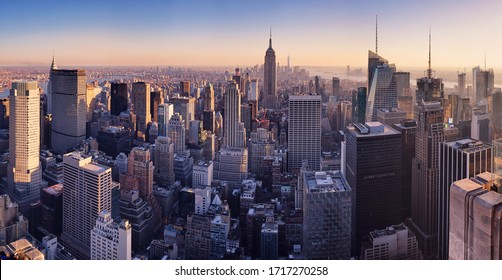 New York skyline at sunset, USA. - Shutterstock ID 1717270258