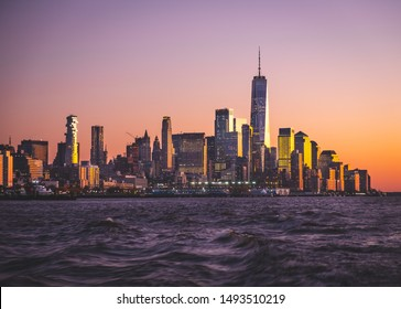New York skyline sunset view from the river.