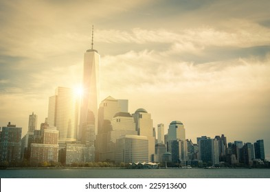 New York skyline-view from Hudson river